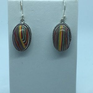 Rainbow Calsilica Handmade Silver Earrings